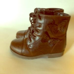 Brown boots with butterfly on the side